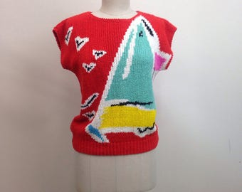 1980s Novelty Nautical Knit Sweater / 80s VTG Pullover / Size medium