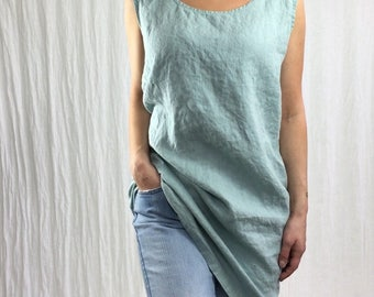 Sleeveless Shift Dress - Linen / Tunic / Shirt / Dress