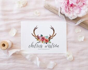 Premade Logo Design | Deer Antler Logo | Flower Logo | Calligraphy Logo | Photography Logo | Boutique Logo | Small Business Logo | PL-002