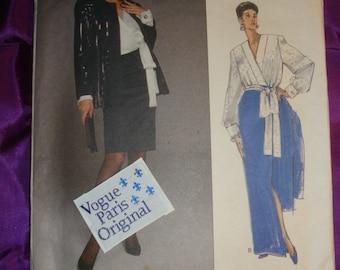 80s Vtg GIVENCHY Jacket Blouse Slim Skirt 2 Lngths n Sash WITH LABEL Uncut Vogue Paris Orig Pattern 2387 Bust 36 38 40 Inch 92 97 102 Metric