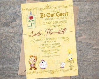 Beauty Belle Beast Baby Shower Invitation | Bell Be Our Guest | Chip Mrs. Potts Lumiere Cogsworth | Printable