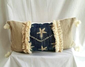 Indigo starfish motif mud cloth - washed linen lumbar pillow