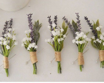 Lavender, baby's breath boutonnier