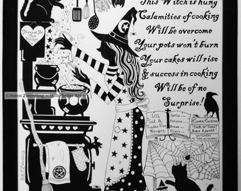 Kitchen Witch ~ Lucky Witch Cooking Spell ~ A high quality, framed A4 print of an original artwork by ©Helen Zwerdling ~ Hells Belles Art ~