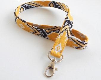 Tribal Print Lanyard / Aztec Print / Black & Yellow / Key Lanyard / ID Badge Holder / Fabric Lanyard / Tribal Lanyard / Abstract Lanyard