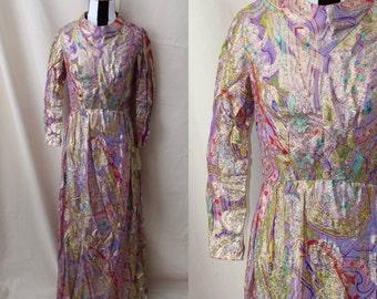 1960s Andora Hong Kong Gold and Purple Metallic Dress Full Length
