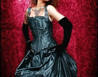 Neo Victorian Bustle Corset Gown Steel Boned Custom Silver or Black 250 Gown Sale