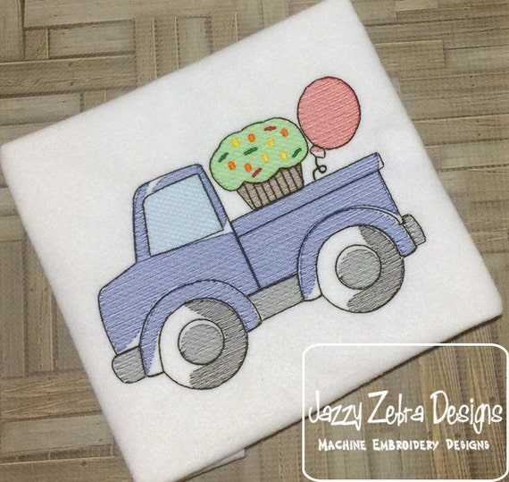 Birthday Truck with Cupcake and balloon Sketch Embroidery Design - birthday sketch embroidery design