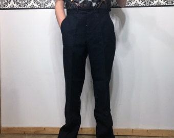 1930's Navy NRA Trousers, Size 32X32, Vintage Men's Wool Work Pants, 1930's High Waisted Hipster Trousers, NRA Label Men's Wool Pants