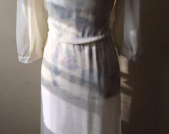 Vintage Sheer White Dress * Ivory * 80's Slip Dress * See Through * Chic * Size Medium
