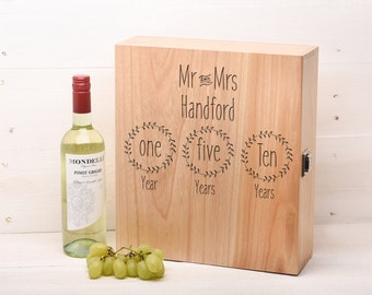Personalised Wedding Gift Anniversary Gift Mr and Mrs Wine Box Champagne box 3 bottle personalized Gift WB5