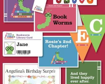 Girls Bookworm Library-Themed Birthday - Printable