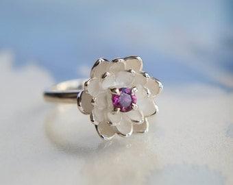 Flower proposal ring, rhodolite garnet ring, engagement ring, pink stone ring, lotus ring, sterling silver ring, promise ring, flower ring