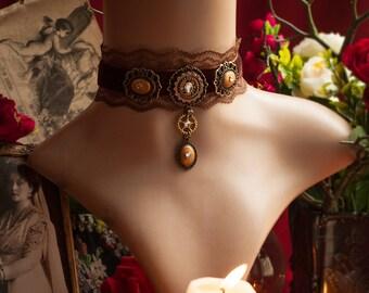 READY TO SHIP! Steampunk Choker, Steampunk Victorian Necklace, Gear Cog Choker, Steampunk Jewelry, Brown Lace Choker