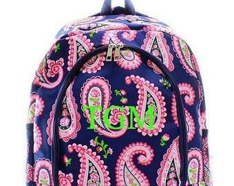 Navy Paisley Monogrammed Backpack  Personalized Back Pack  Children's Personalized Backpack