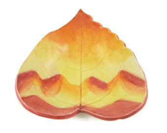 Cottonwood Leaf dish - pottery - mountain sunset leaf - mountain landscape - ring dish - spoon rest - fall leaf - decor - handpainted sunset