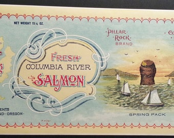 Columbia River Salmon Vintage Can Label Pillar Rock Packing Co. Pillar Rock, Washington