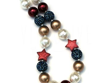 Girl's Chunky Bubblegum Necklace - Independence Day - 4th of July Necklace - Fourth of July - Memorial Day - 4th of July Outfit - USA Made