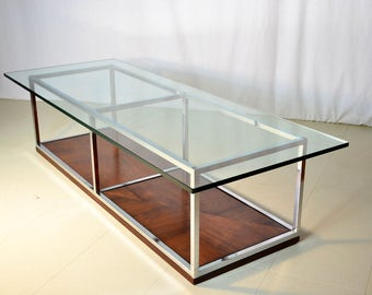 1970s Two Tier Coffee Table in Chrome and Rosewood