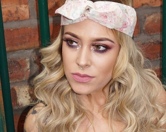 Festival Flower Rose Vintage wired Rockabilly Pin up Headband Headwrap