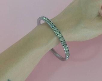 Vintage bangle bracelet sparkling rhinestones 1960s stackable bangle