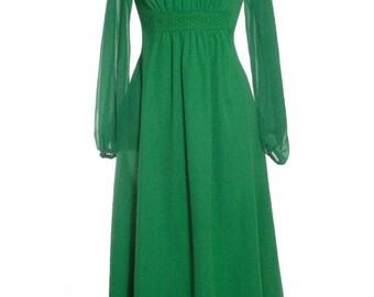 Vintage 1970's Devonshire Lady Green Maxi Dress 10 - www.brickvintage.com