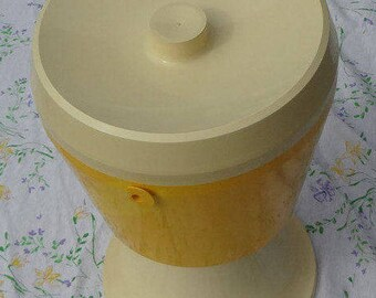 Vintage 1960's YELLOW and White PEDESTAL ICE Bucket/Cooler