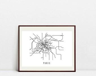 Paris Metro Map - Black and White Art Print - Digital Download Art Print