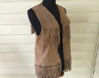 Suede Leather Buckskin Fringed Vest Authentic Vintage Cowboy Cowgirl Hand Made Tan Wild West Cattle Ranch Rodeo Medium Man Large Woman