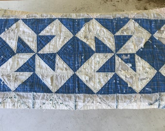 Vintage Hand Quilted Patchwork Table Runner/Blue White/Shabby/Primitive/Hand Pieced/Soft Worn Cotton/1930s 40s/Depression/Farmhouse/Cabin