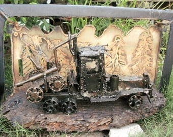 Logging Truck with Dolly with Forest Frame Metal Sculpture