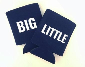 Set of 2 Can Huggers - Big Little White Sparkly Font Sorority Custom / Can Hugger / Beer Holder - Navy Blue