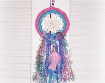 Pink Dreamcatcher Nursery Teen Gift Crochet Dream Catcher Boho Hippie Chic Wall Hanging Pink Blue Doily Fiber Art Family Room Wall Decor