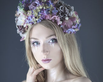 Ready to ship * Floral wreath, headpiece, headband with violet, mauve, pink flowers