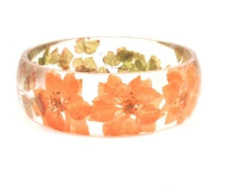 Botanical Resin Bracelet, Real Flower Resin Bracelet, Pressed flowers in resin, botanical jewelry, Maidenhair fern & Larkspur, Size L
