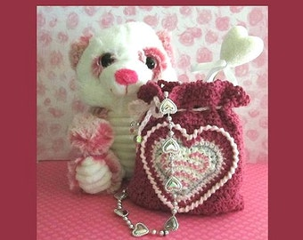 Valentine Goody Bag With Bead Heart Applique and Circle Appliques Crochet Pattern  #Oth0002