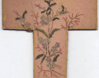 Cross, Heavy Cardboard with flowers drawn on it, c1980 or earlier, fair shape