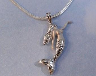 Silver Hawaiian mermaid pendant rhodium necklace ! Silver Mermaid necklace. Moms gift