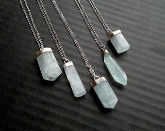 Aquamarine Necklace Aquamarine Pendant Blue Stone Necklace Aquamarine Jewelry Mineral Necklace Silver Boho Necklace Blue Stone Jewelry