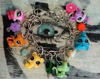 altered littlest pet toy charm bracelet child jewelry kid gift party favor rainbow