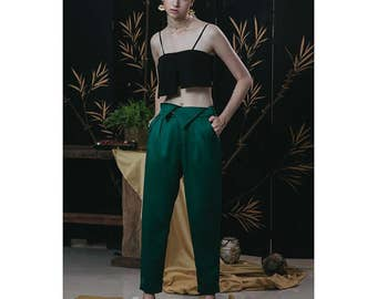 Classic 60s Collection chic dark green/ginger yellow silk satin designed pants