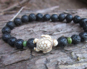 turtle bracelets Mens / women's energizing black Volcanic rock lava stone white sea turtle green turquoise yoga stacking  stretch bracelet
