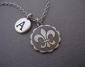 Fleur de Lis Medallion Necklace, Fleurs de Lis Keychain, French Medallion Bangle Bracelet, Paris France French Flower Lily Symbol Jewelry