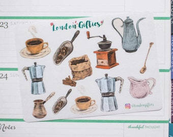 Vintage coffee maker - decorative watercolour planner stickers suitable for any planner -359-