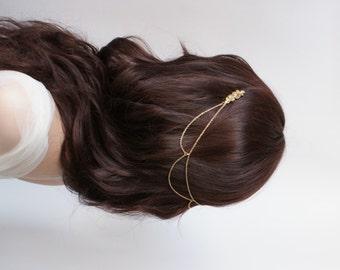 Gold bridal Headpiece - Bohemian Wedding Headpiece - Gold chain headpiece - Bridal or Bridesmaids Hair Accessory - Bohemian  Headpiece - UK