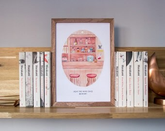 Haruki Murakami's Hear the Wind Sing // Watercolor Illustration Art Print, Bar/Pub, Japanese Literature, Book Lover Gift, Wall Art Print