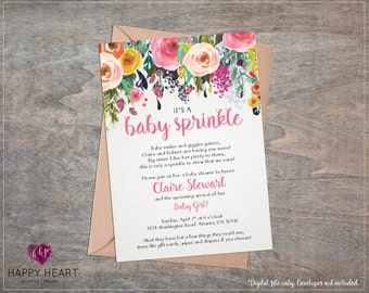 Rose Floral Girl Baby Sprinkle Shower Invitation / Beautiful Watercolor Roses Flowers Floral / Pink Yellow Orange Whimsical Printable Invite