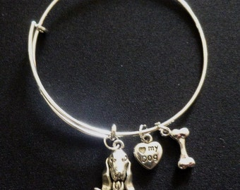"""Basset Hound Expandable Wire Bracelet with """"Love my Dog"""" and Bone Charms ~ Adult or Child"""