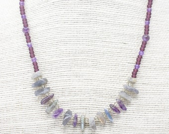 Amethyst and Labradorite Necklace, Boho Style Necklace, Purple Seed Bead Layering Necklace, Healing Gemstone