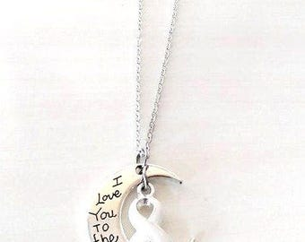 White Awareness I Love You To the Moon and Back Necklace You Select Chain Material and Length